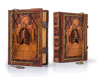 "COMING SOON - 8"" x 11"" - Anatomia Humani Corporis leather journal, ultimate Renaissance anatomical journal, Da Vinci Medieval Journal"