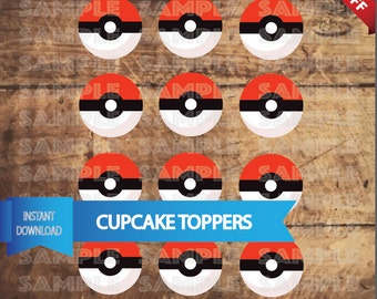 POKEBALL CUPCAKE TOPPERS, Pokemon Go Birthday party,  Pokemon Birthday Party, Pokemon Go Party, Pokemon Printable pokeball