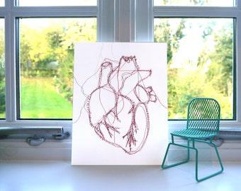 Anatomical Heart Print - Machine Embroidery - Print - Illustration - Wall Art - Unframed