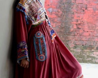 Gypsy Afghani tribal dress maroon red maxi, beaded with brocade, coins, bells and tassels Pakistani kuchi Indian traditional nomad dress