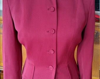 Vintage 1940s cranberry light burgundy fitted jacket, wasp waist, S