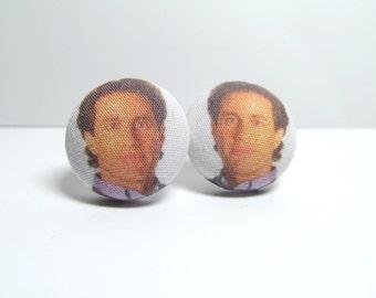 MEGA SALE Seinfeld Jerry Fabric Button Earrings