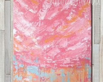 Original Fine Art Acrylic Painting Abstract Landscape Wall Art Medium Canvas 14 x 11 inches pink blush modern decor palette knife office