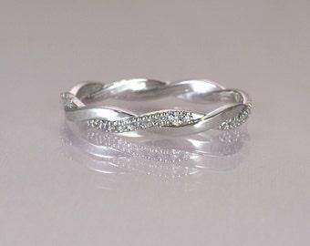 Braided Wedding Band Diamond Ring Crossing Unique
