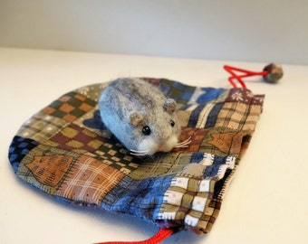 Pocket size felted Hamster with a pouch
