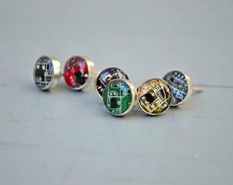 Modern Geek Earrings, 925 Sterling Silver Tiny Stud Earrings, Circuit Board Computer Jewelry, Sci-Fi Hi Tech Futuristic Jewelry