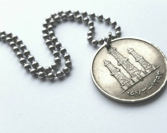 Foreign Coin Necklace  - Stainless Steel Ball Chain or Key-chain - middle eastern coin - oil