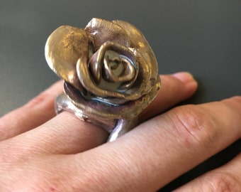 Bronze Rose statement ring