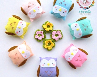 A set of Felt Owl Party Favor, Felt Owl Baby Shower Favor,Felt Owl Plush,Felt Owls Party Favor, Felt Owls Birthday Favors,Felt Owl Keychain