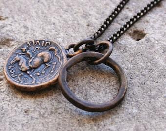 Solid Bronze Zeus & Horse Coin Necklace