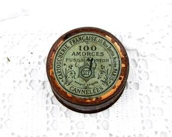 Français ancien petit ronde fusil de chasse fusil cartouche amorce Tin, «Cartoucherie Française» de Paris, maison de rétro, Country Français Decor, minuscules