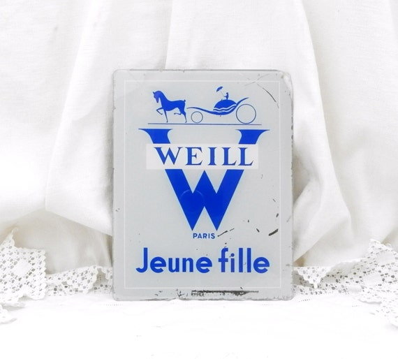 "Vintage French Publicity / Advertising / Commercial  Weill  ""Jeune Fille Paris"" Glass Sign, Mid Century, Ephemera, Retro, Home, Clothes"