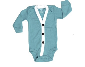 Baby Cardigan Onesie - New Blue Preppy Baby Boy Cardi - Perfect for a Winter Baby Shower Gift