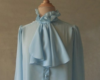 Blue Blouse with Ruffle Collar and Cravat