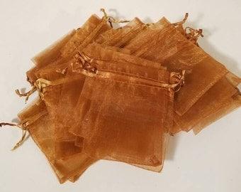 40 Copper/bronze/brown Organza Drawstring Bags -3.4 x 2.75 -  wedding favor, sachet bags