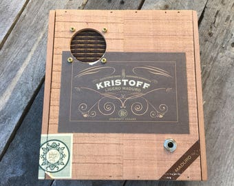 Cigar Box Bluetooth Speaker, Guitar Amplifier, Wired Speaker, Handmade Portable Amp - Kristoff
