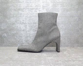 Vtg 90s Houndstooth b&w Structural Ankle Boots 7