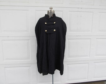 Vintage black wool cape with brass buttons, graduation cape, cosplay, medieval cape, XL