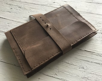 A5 Leather Organizer, A5 Notebook Cover, Travel Journal Cover, Sleeve for iPad Mini, Leather Portfolio, Italian Leather, Hand Stitched