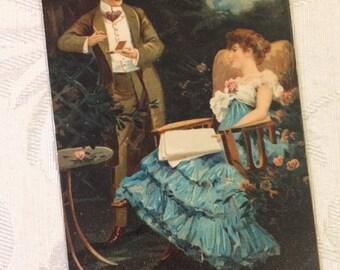 Romantic Edwardian Couple in Moonlight Garden Antique Postcard, 1907, European Vintage Postcard, Courting Marriage