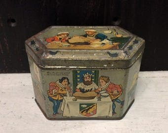 Antique Nursery Rhyme Tin, Sing a Song of Sixpence Six Pence, King Queen Maid Blackbird Pie, Vintage Tin Box c 1920s