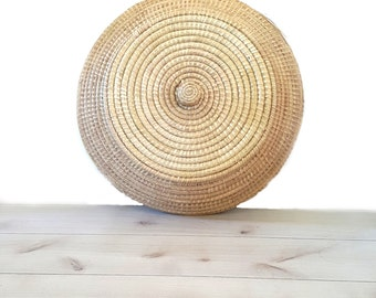 Huge Spiral Cobra Basket ~ Rare Vintage Seagrass Basket With Fitted Lid And Handle