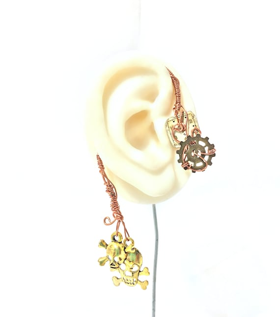 Skulls and Cogs Wire Wrap Ear Wrap - Right Ear
