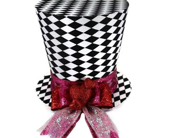 Valentines Day, Valentine decor, Valentines day, Top hat, Hearts, Bow, Valentines day gift