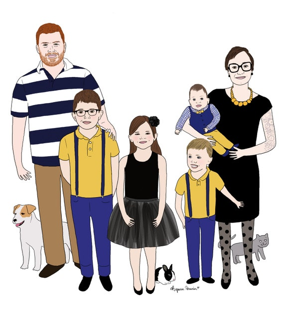 portrait de famille personnalis sur commande version. Black Bedroom Furniture Sets. Home Design Ideas