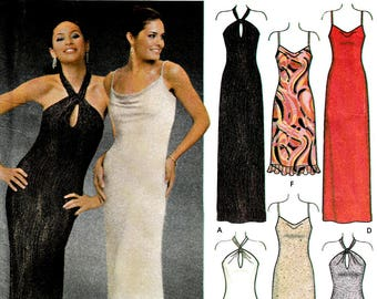 Easy to Sew Long Evening Wear Dress Sewing Pattern Keyhole Halter or Narrow Straps Length Options Size 4 6 8 10 Simplicity 5093 Uncut