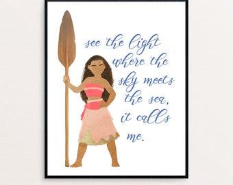 "Disney Moana ""See the light where the sky meets the sea, it calls me."" Watercolor Digital Print"