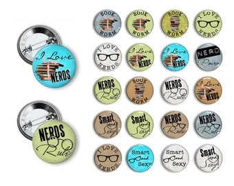 Nerd Pins Nerd Buttons Nerd Party Favors Geek Pins Geek Buttons 1.25 inch pinback button set buttons pins badges magnets