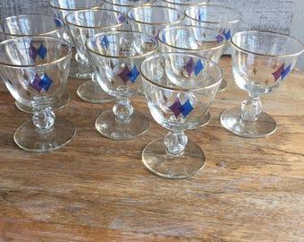 Harlequin Retro Martini Set of 12 - Mini Martini Cocktail Glass Set - Retro Vintage Atomic Pattern - Purple Blue Gold Diamond Pattern