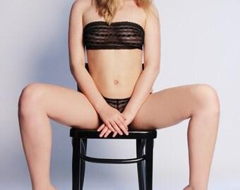 Lingerie Dessous Set black Bustier & Panty Set - Lace Undies Bra