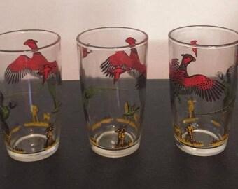 Vintage Hazel Atlas Pheasant Hunting Scene Drinking Glasses Set of Three