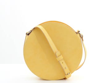 Yellow leather circle bag, round bag, leather crossbody bag, yellow leather bag, leather shoulder bag, yellow bag FREE SHIPPING