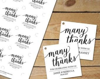Thank You Tags Printable Template // Wedding Thank You Tags for Wedding Favors // Editable Place Card Tags
