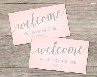 Pink Wedding Name Cards Printable // Editable Place Card Templates // DIY Place Cards // Gray and Pink Wedding Place Cards Printable