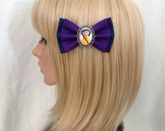 Coraline hair bow clip rockabilly psychobilly pin up girl other mother button eyes Tim burton punk fabric purple blue yellow raincoat