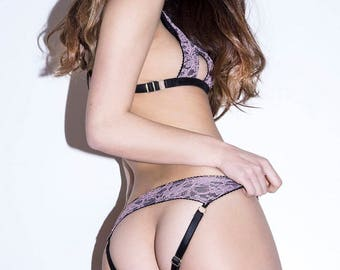 AMY low rise ouvert lace panties / knickers - soft see through lace with strappy peep bum design, handmade ethical lingerie to order
