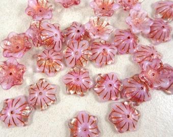 Czech Beads, Bell Flower Bead Caps, Czech Glass Flower Beads - Two Tone Pink (BC/RJ-2366) - 12mm Wide - Qty. 12
