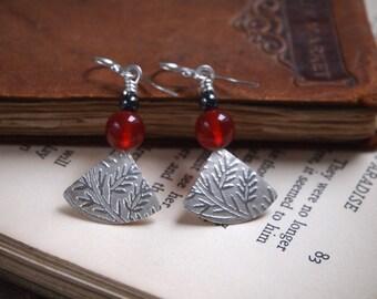 Carnelian earrings, silver fan earrings, dangle leaf earrings with carnelian beads, handmade by ARC jewellery uk