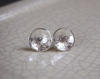 silver flower stud earrings | silver flower earring studs | bridesmaid gift | silver wedding jewelry | gift for her | mothers day gift | ARC