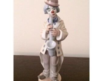 Clown Lladro Figurine, Vintage Figurine Lladro, Sad Sax Lladro Clown Figurine