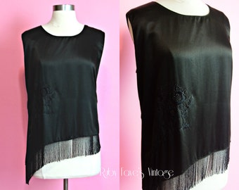 1920's Vintage Black Silk Satin Loose Hanging Sleeveless Shirt Blouse with Asymmetrical Beaded Fringe and Embroidery