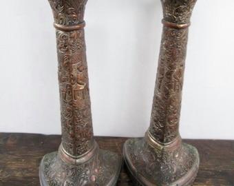Sale Vintage Silver Over Copper Renaissance Candle Sticks