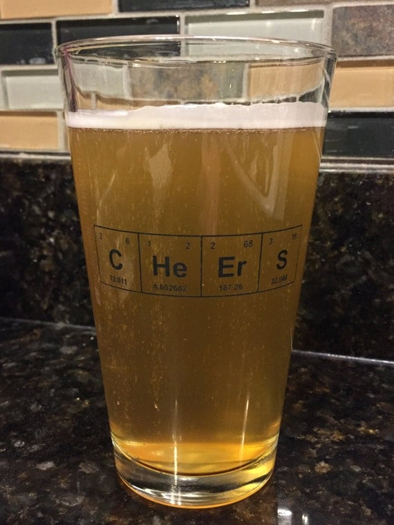 "IMPERFECT SECONDS Sale!! Periodic Table of the Elements ""CHeErS"" 16 ounce Pint Glass / Black Etched Glassware / Etched Barware"