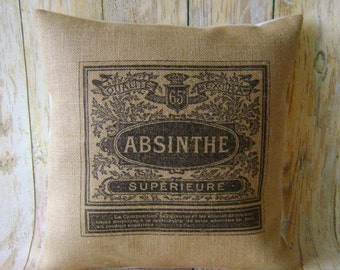 """Absinthe Ad - 16"""" Hessian Jute burlap cushion/pillow cover Vintage French shabby chic country UK handmade"""
