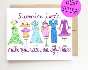 Will You be my Bridesmaid Cards - All Colors - Will You be my Bridesmaid Card - Will You Be My Maid Of Honor - Bridesmaid Proposal Card