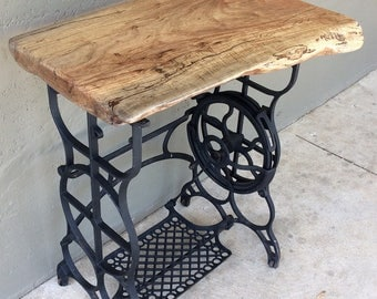 Rustic Side Table with Cast Iron Legs (old Sewing Machine Stand)